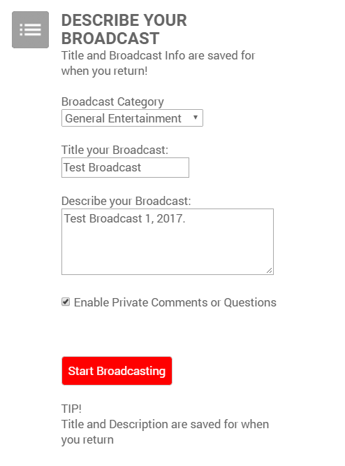 Title your Broadcast